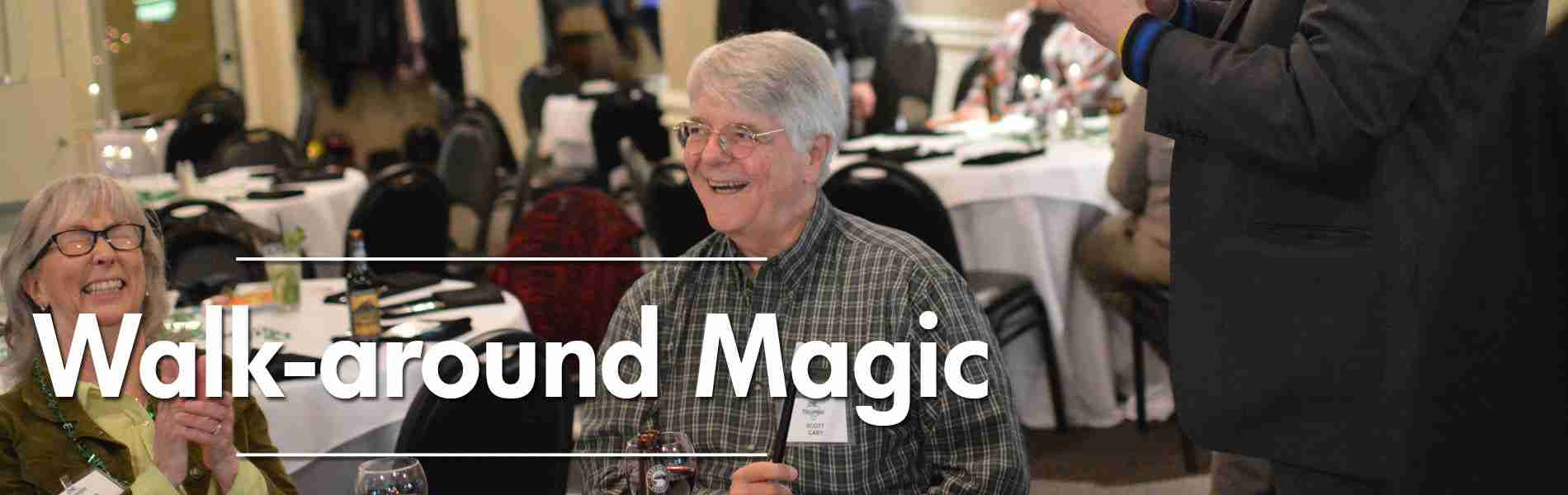 Portland and Seattle corporate entertainer performs walk-around roaming magic