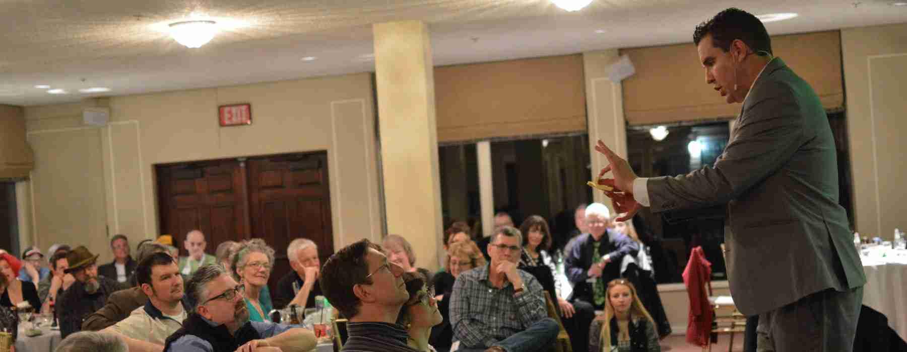 Portland magician performs for company banquet