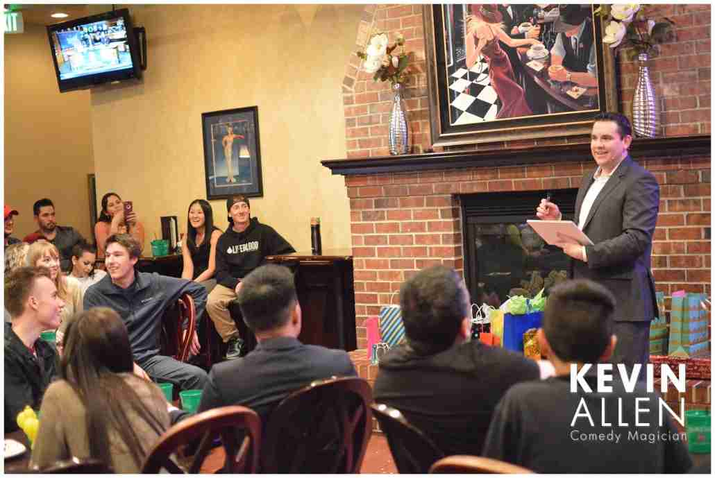 Comedy magician Kevin Allen performs at a family party