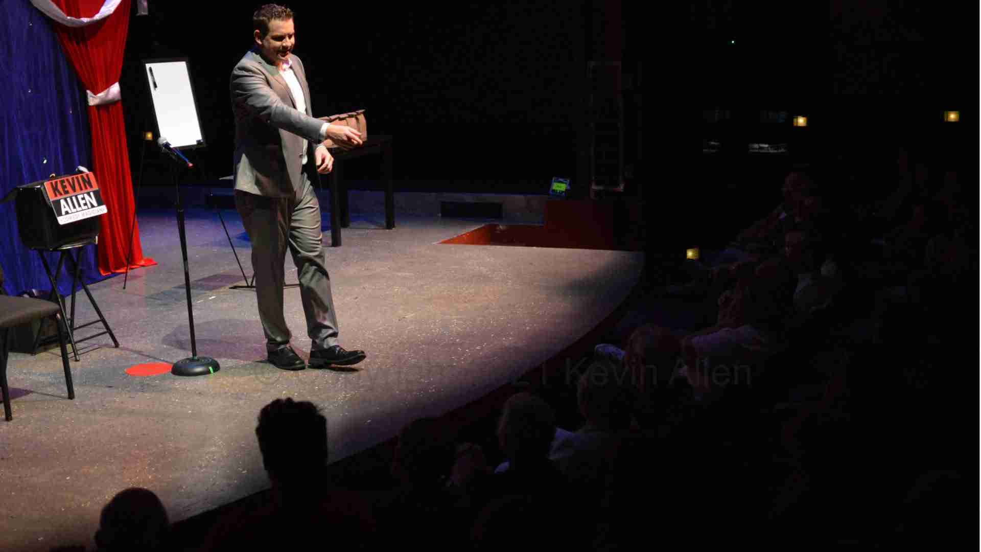 Kevin Allen performs a theater magic show